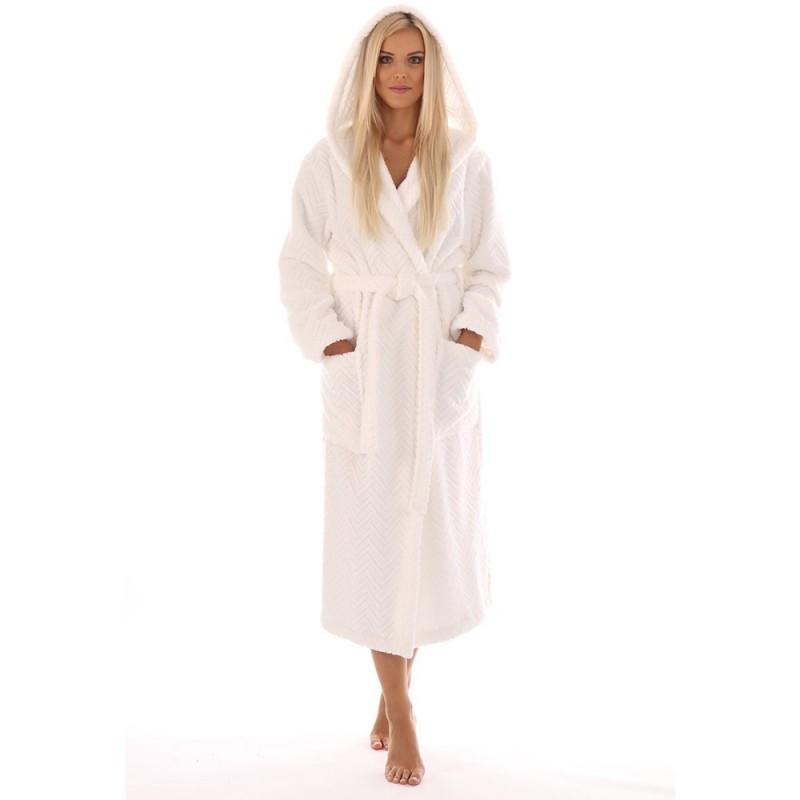 Vestis Athena bavlněný župan s kapucí bílý