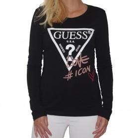 Guess tričko s dlouhým rukávem černé